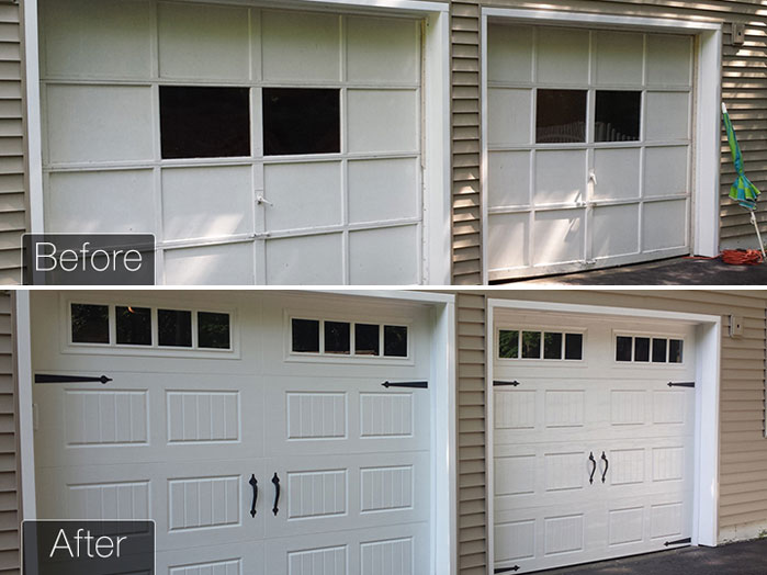 Garage Door Replacement before and after