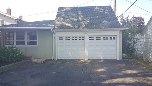 glassed short panel garage door