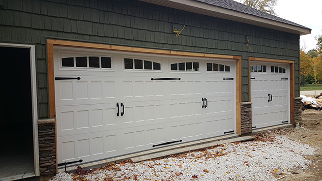 recessed long panel garage door